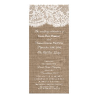 The Burlap & Lace Wedding Collection Programs Custom Rack Cards