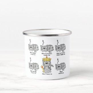 What the Cat thinks Enamel Camper Mug