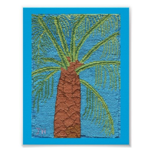 The Cross Stitched Palm Tree By Julia Hanna Poster