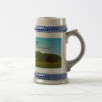 The Farmer and Religion 18 Oz Beer Stein