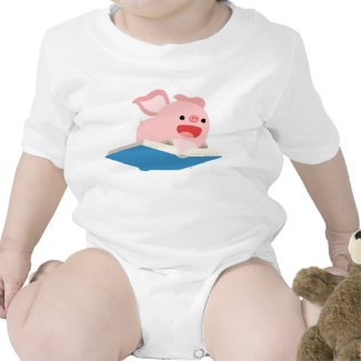 The Flying Book and Cartoon Pig Baby T-Shirt shirt