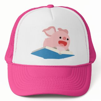 The Flying Book and Cartoon Pig Hat hat