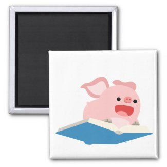 The Flying Book and Cartoon Pig Magnet magnet