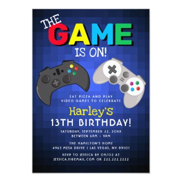 The Game Is On! | Video Game Birthday Invitation