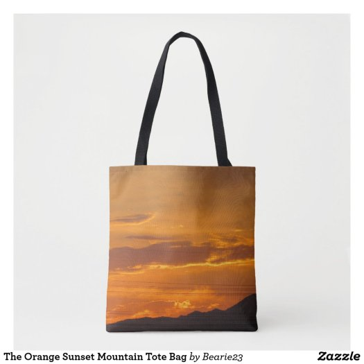 The Orange Sunset Mountain Tote Bag