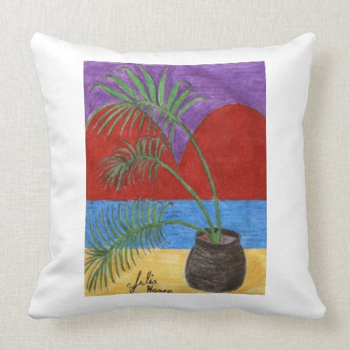 The Palm Heart Sunset Pillow by Julia Hanna throwpillow