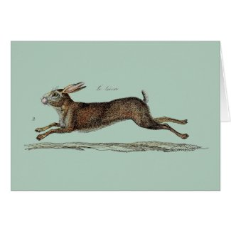 The Racing Hare at Easter Card