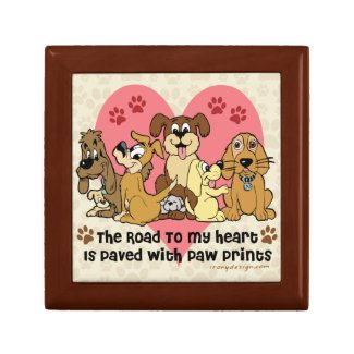 The Road To My Heart Dog Paw Prints Keepsake Box