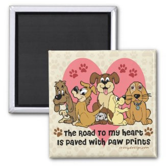 The Road To My Heart Dog Paw Prints Magnets