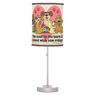 The Road To My Heart Dog Paw Prints Table Lamps