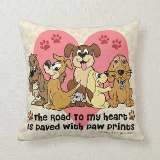The Road To My Heart Dog Paw Prints Throw Pillows