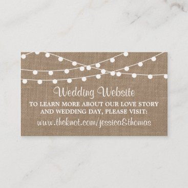 The Rustic Burlap String Lights Wedding Collection Enclosure Card