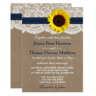 The Rustic Sunflower Wedding Collection Navy Card
