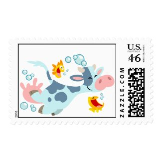 The Sea Cow and Fish Friends postage stamp stamp