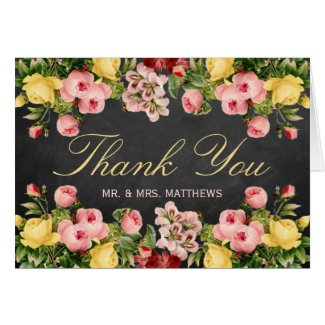 The Vintage Floral Chalkboard Wedding Collection Stationery Note Card