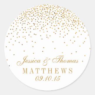 The Vine Glam Gold Confetti Wedding Collection Clic Round Sticker