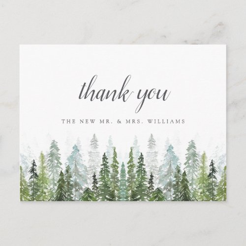 The Watercolor Pine Tree Forest Wedding Collection Announcement Postcard