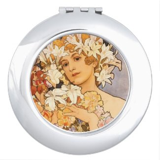 The Woman with Flowers Makeup Mirrors