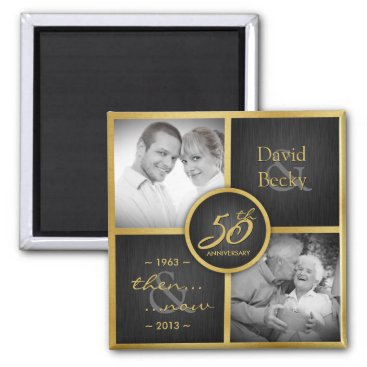 Then & Now Elegant Black and Gold 50th Wedding Magnet