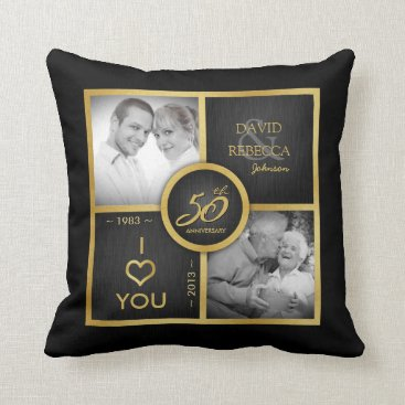 Then & Now - Elegant black & gold 50th Wedding Throw Pillow