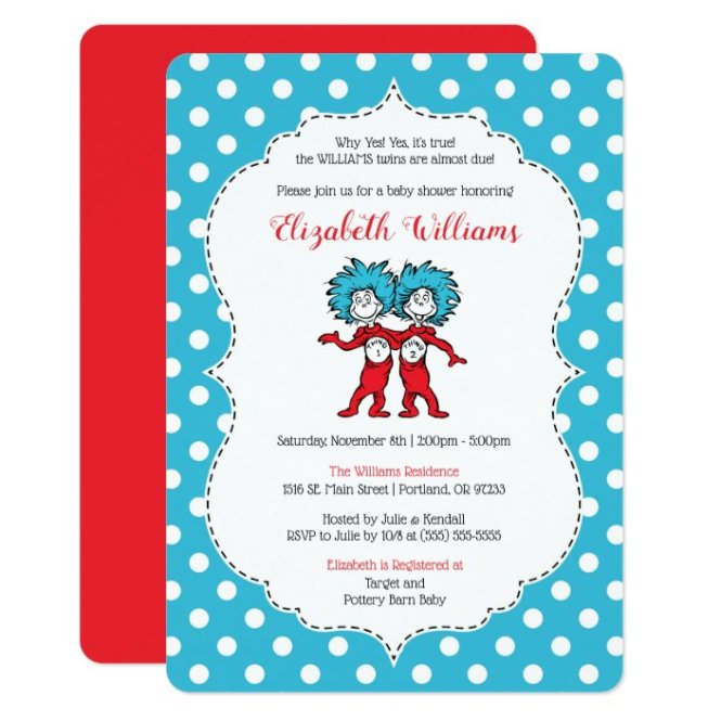 Thing 2 Twins Baby Shower Invitation