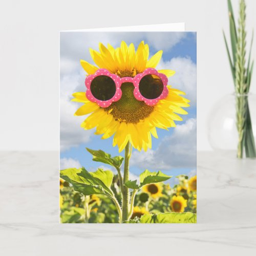 Thinking of you-Sunglasses on Sunflower Card