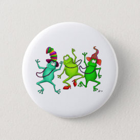 Three Dancing Frogs Button