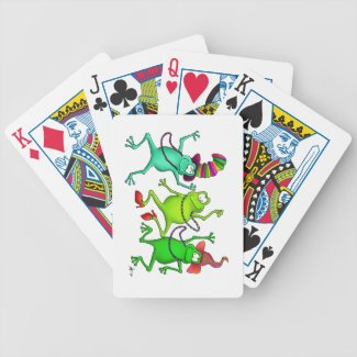 Three Festive Frogs Playing Cards