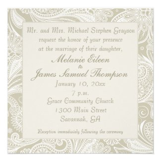 Tidal Wave Sand White Paisley Wedding Invitiation Custom Announcement