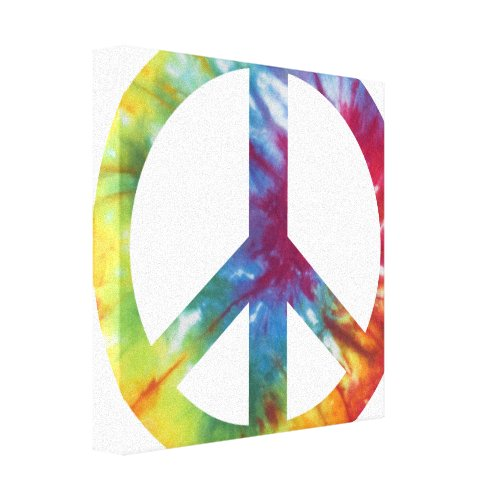 Tie Dyed Peace Sign Wrapped Canvas Print