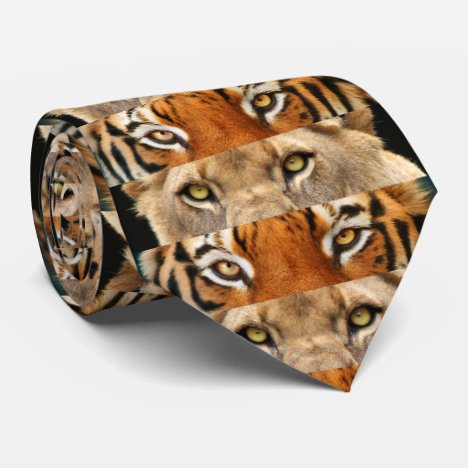 Tiger and Lion eyes Photo Neck Tie