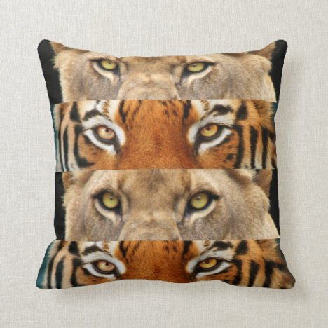 Tiger and Lion eyes Photo Throw Pillow