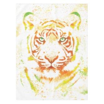 Tiger Art Paint Tablecloth