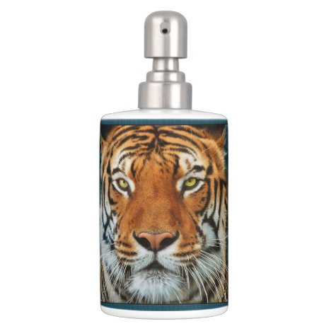 Tiger Face Soap Dispenser And Toothbrush Holder