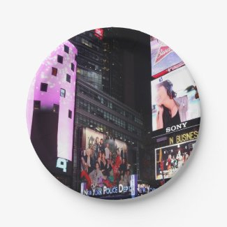 Times Square in New York City (pink) 7 Inch Paper Plate