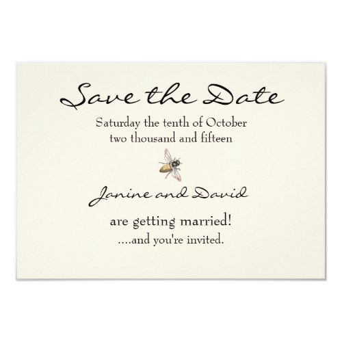 Tiny Bee Wedding Save the Date card