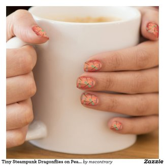 Tiny Steampunk Dragonflies on Peach Sunset Ombre Minx Nail Wraps - Click through to purchase
