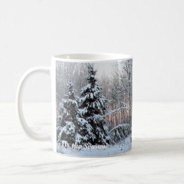 'Tis the Season Rose Sunset Cottage Winter Holiday Coffee Mug