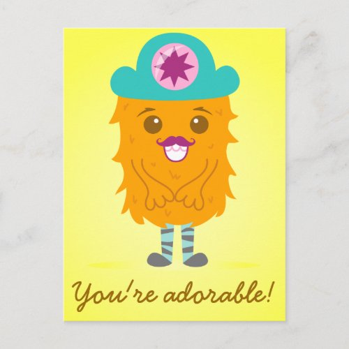 Too adorable orange monster with a hat zazzle_postcard