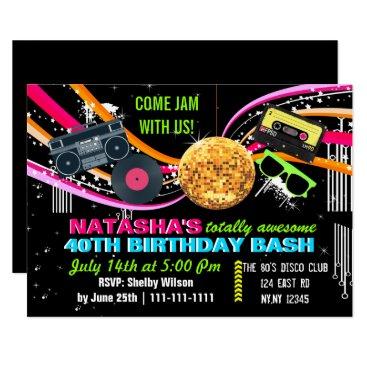 totally 80's retro Birthday party Invitation