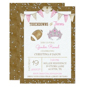 Touchdowns or Tiaras Watercolor Pink Gender Reveal Invitation