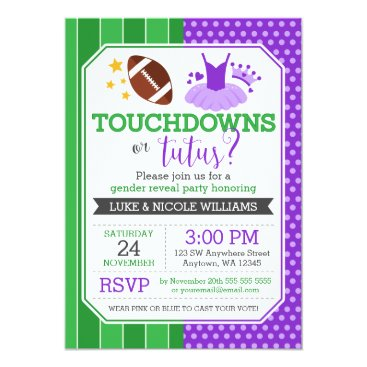 Touchdowns or Tutus Purple Gender Reveal Party Invitation