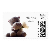 Toy Hippo and Flower Get Well Soon Stamp
