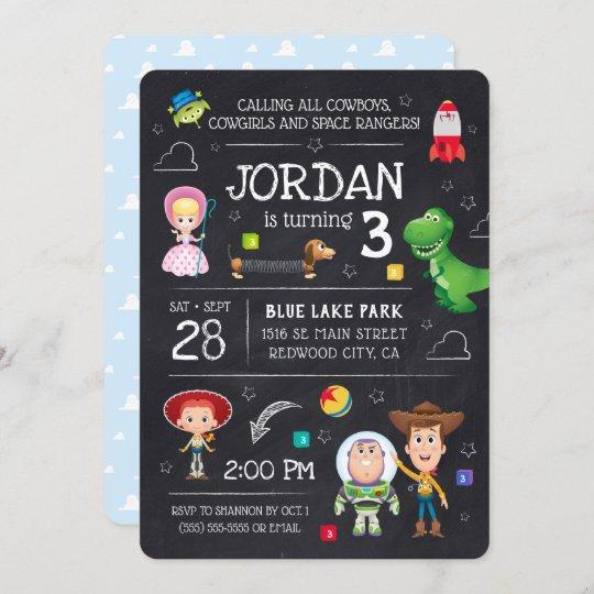 toy story chalkboard birthday invitation zazzle com