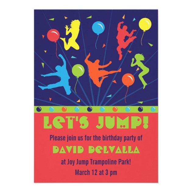 trampoline birthday party invitations boys girls