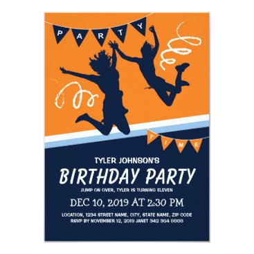 Trampoline Park Boys Kids Birthday Party Invitation