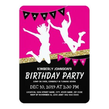 Trampoline Park Girl Pink Kids Birthday Party Card