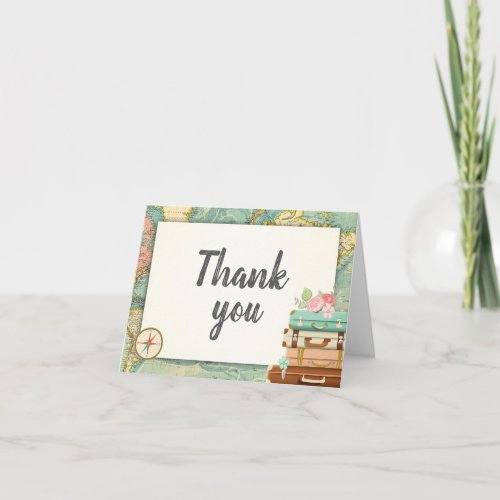Travel Thank you card World map Miss to Mrs Bridal
