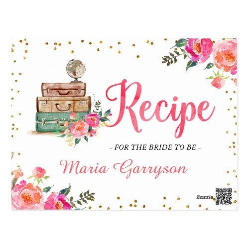 Travel Themed Bridal Shower Recipe Card