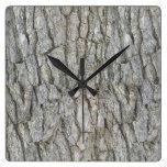 Tree Bark Gray Nature Square Wall Clock